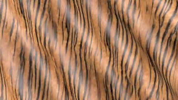 Waves of tiger-colored fabric. Abstract 3D motion texture.