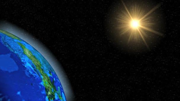 Modrá planeta Země v temné galaxii. Prostor abstraktní sféry ve vesmíru.