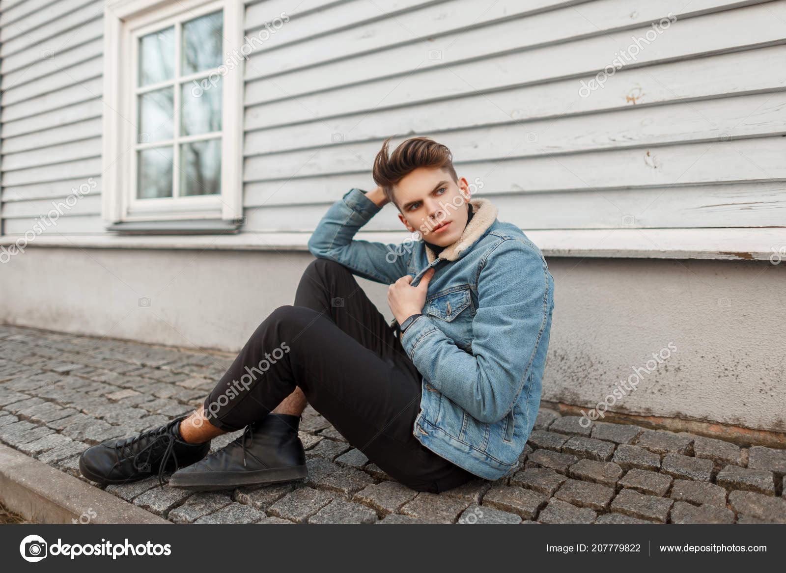 Stylish Young Man Haircut Fashion Denim Vintage Clothes Sitting