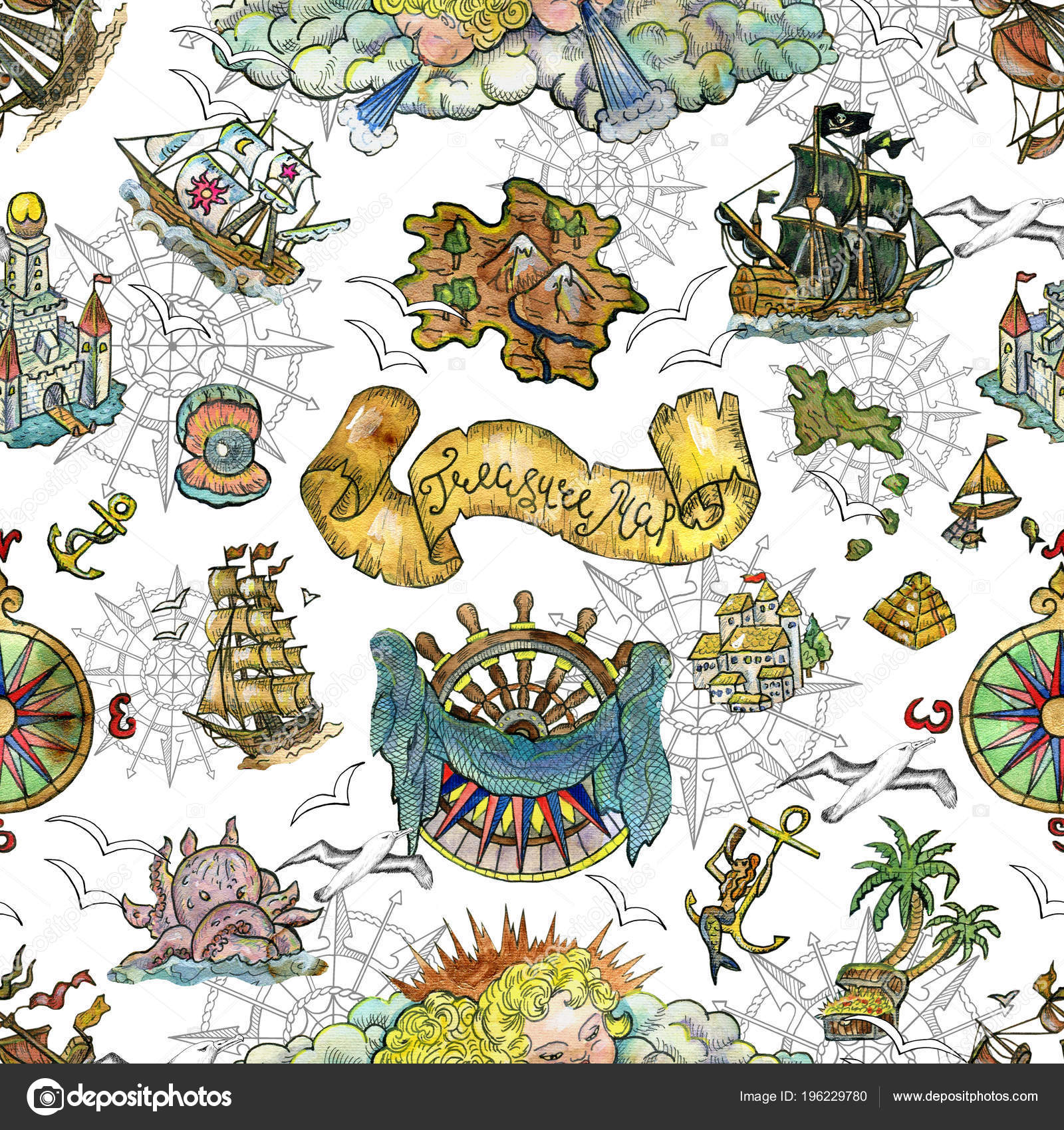 Patrón Sin Fisuras Con Símbolos Náuticos Barcos Brújulas Sirenas ...