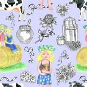 Fotografia Fondo senza cuciture con i bambini svegli bere latte, mucca e latticini. Concetto di paese depoca con, acquerello e grafiche illustrazioni sullazzurro