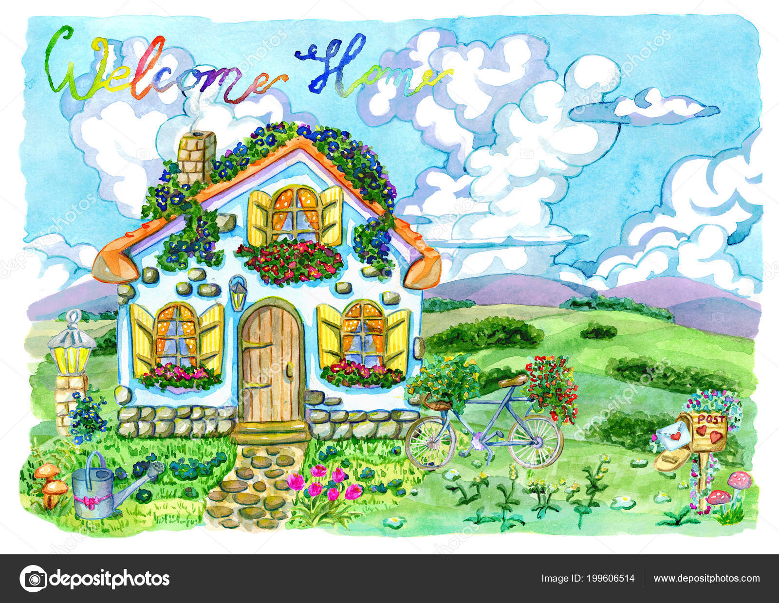 Small House Cute Windows Beautiful Garden Lettering Vintage Country Background Stock Photo Image By Samiramay 199606514
