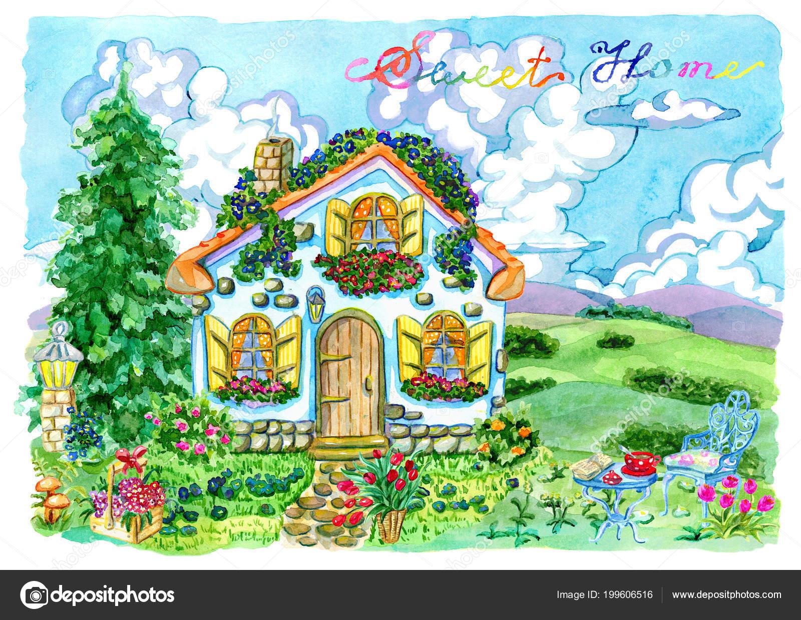 Preciosa Casa Rural Con Muebles Jardín Flores Coníferas Fondo ...