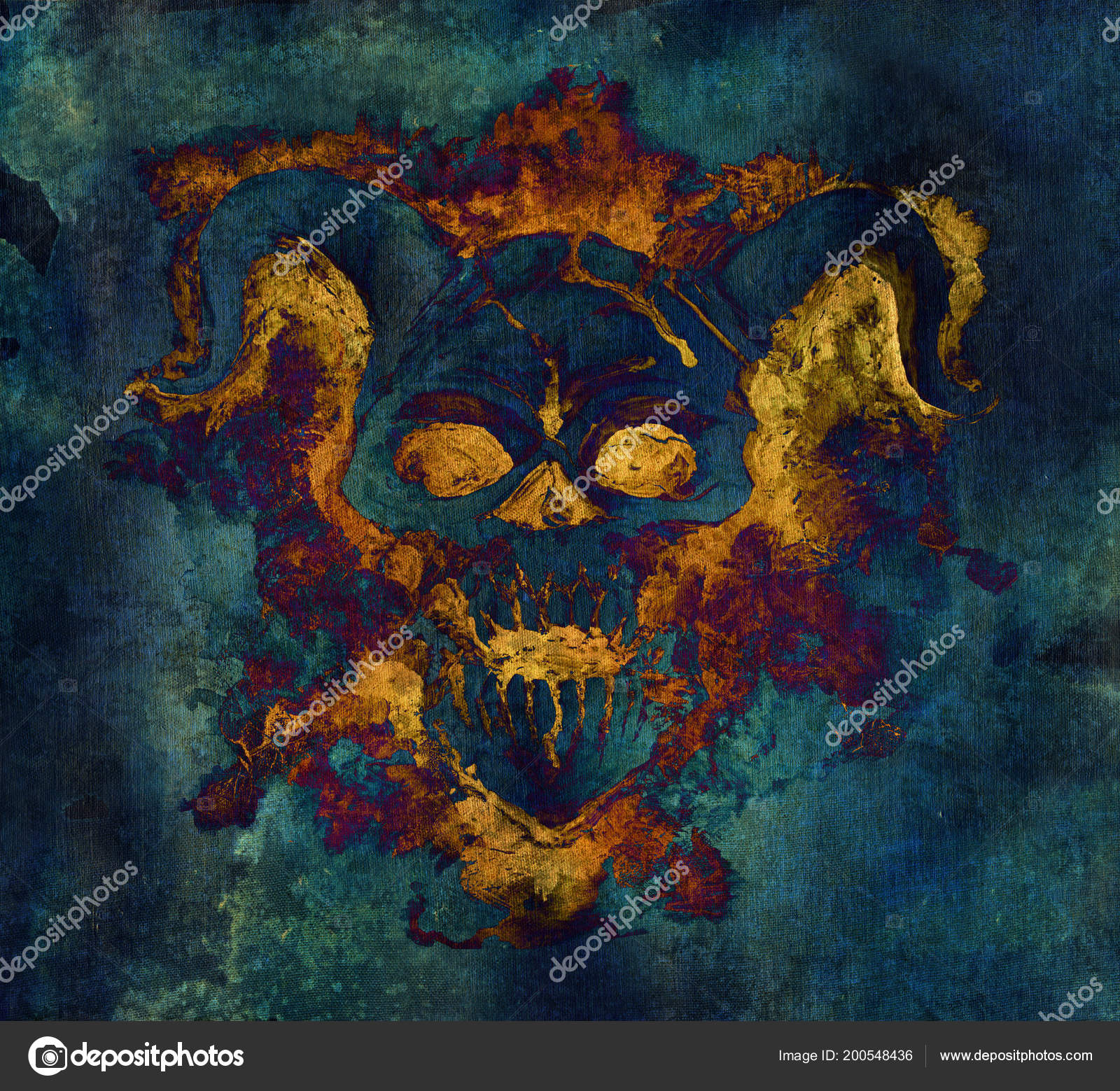 Demon Face Flame Hell Texture Background Death Symbol Black Magic