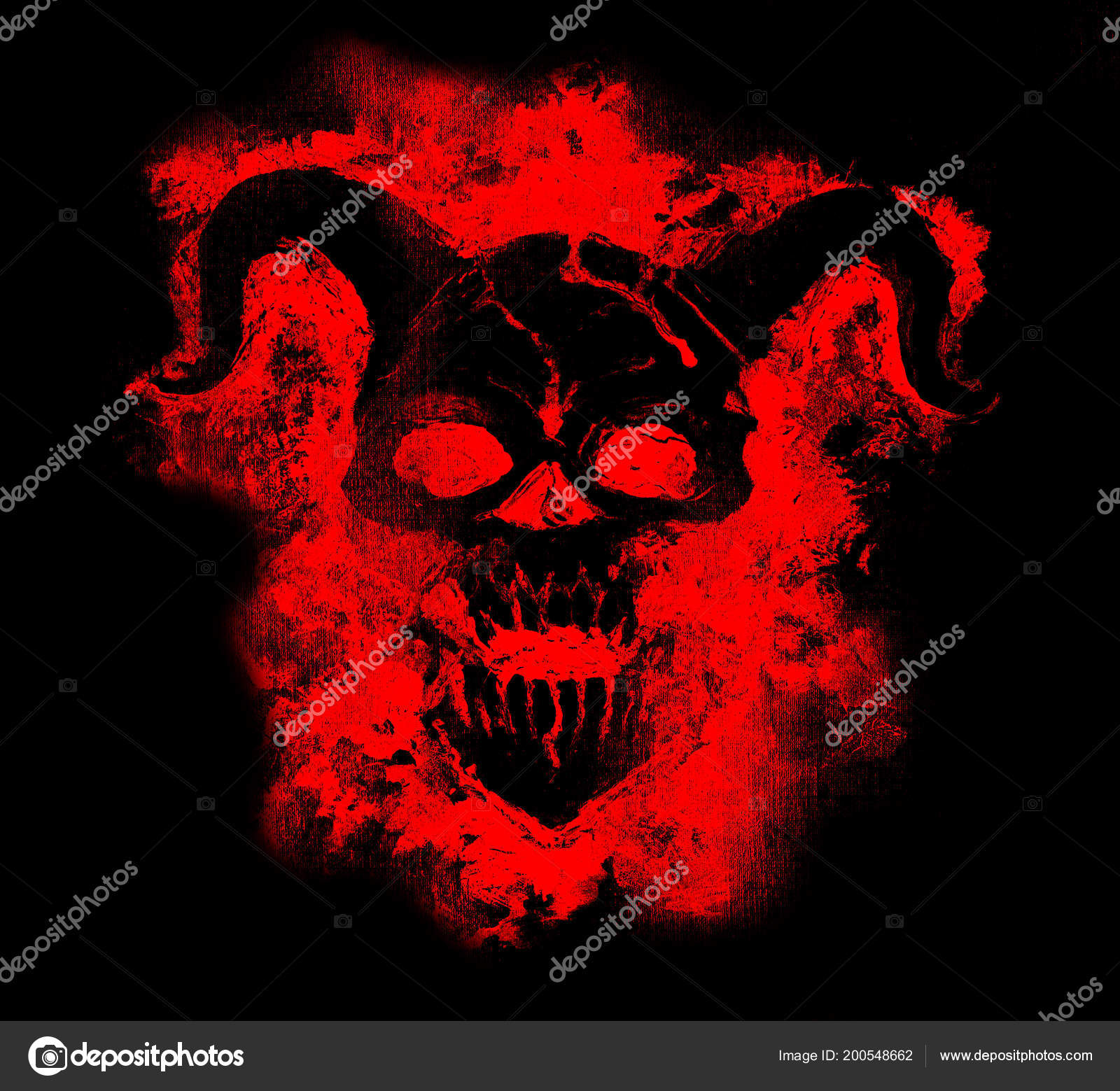 Black Demon Face In Red Silhouette Death Symbol, Black Magic