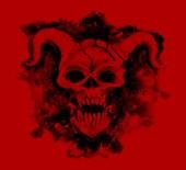 Černý ďábel lebky na červeném pozadí. Symbol smrti, černé magie koncept. Okultní, esoterické a Halloween ilustrace