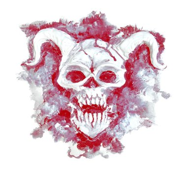 Red devil skull silhouette with horns and fangs on white background. Death symbol, black magic concept. Occult, esoteric and Halloween illustration