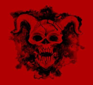 Black devil skull on red background. Death symbol, black magic concept. Occult, esoteric and Halloween illustration