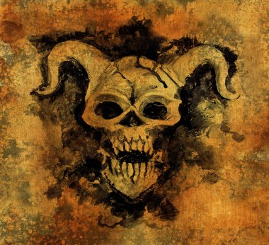 Diabolic silhouette with horns on old texture grunge background. Death symbol, black magic concept. Occult, esoteric and Halloween illustration