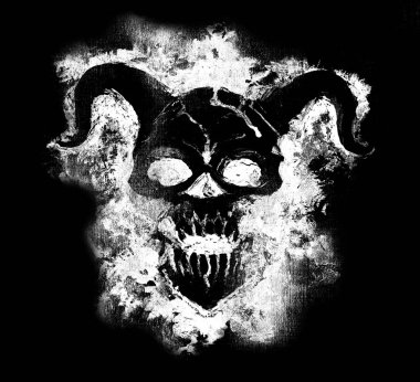 Black and white silhouette of evil demon face. Death symbol, black magic concept. Occult, esoteric and Halloween illustration