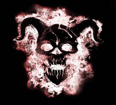 Scary Devil face on black background. Death symbol, black magic concept. Occult, esoteric and Halloween illustration