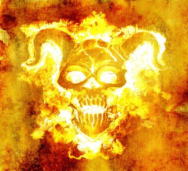 Devil in hell flame against grunge texture background. Death symbol, black magic concept. Occult, esoteric and Halloween illustration