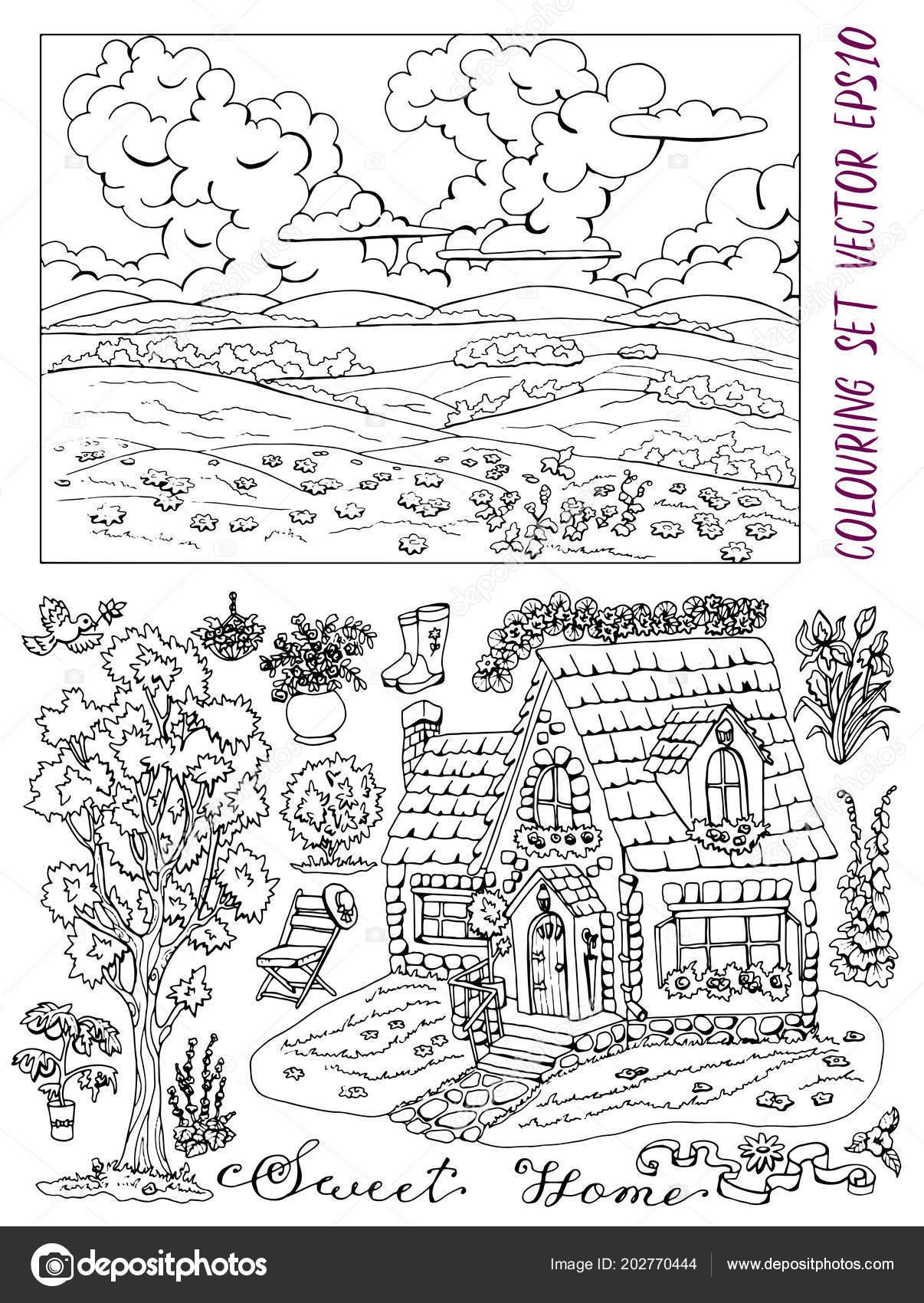 Coloriage Jardin Arbres.Coloriage Livre Avec Paysage Ete Chalet Arbres Fleurs Objets Jardins