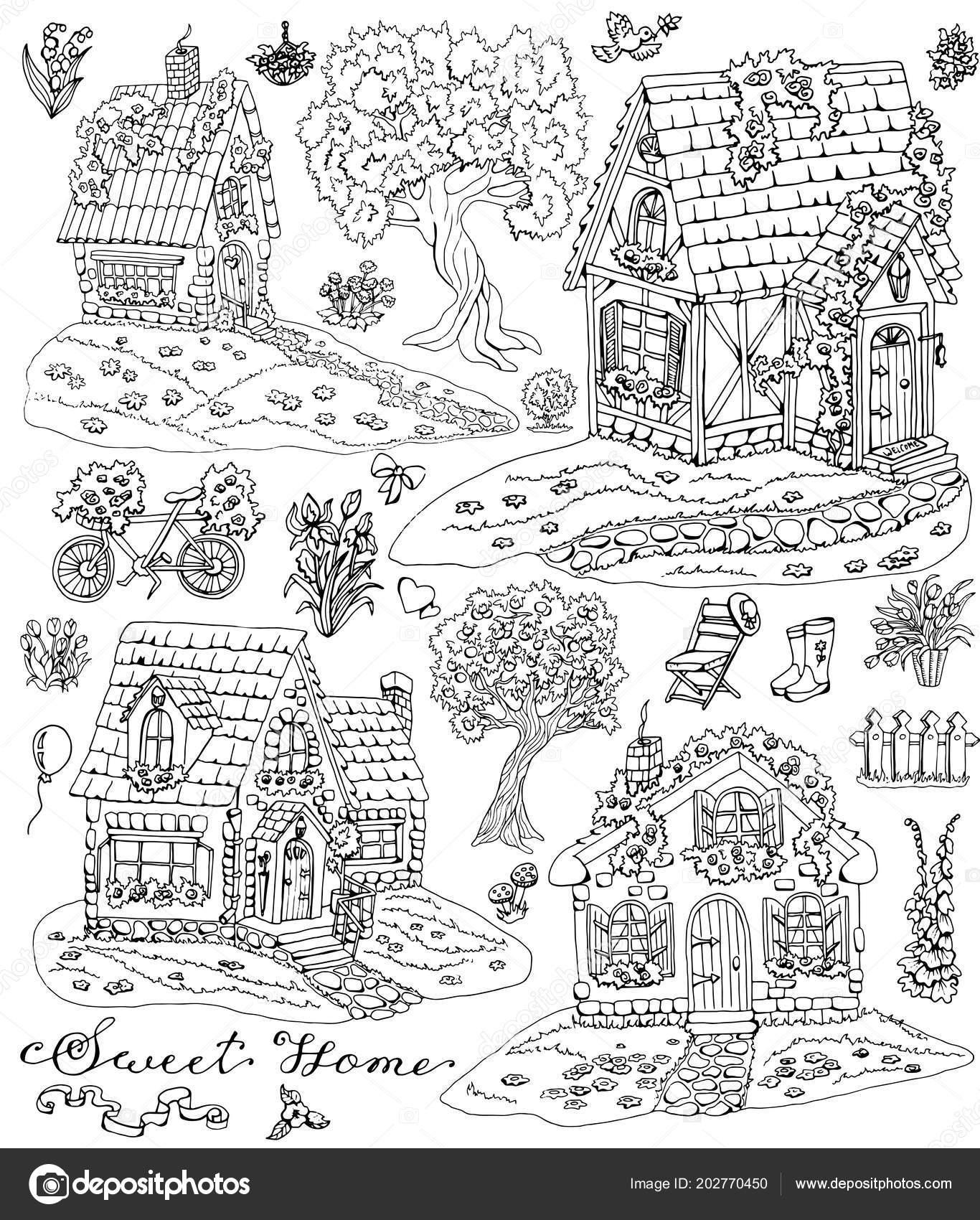 şirin Köy Evleri Ağaçlar çiçekler Bahçe Nesneleri Boyama Sayfası