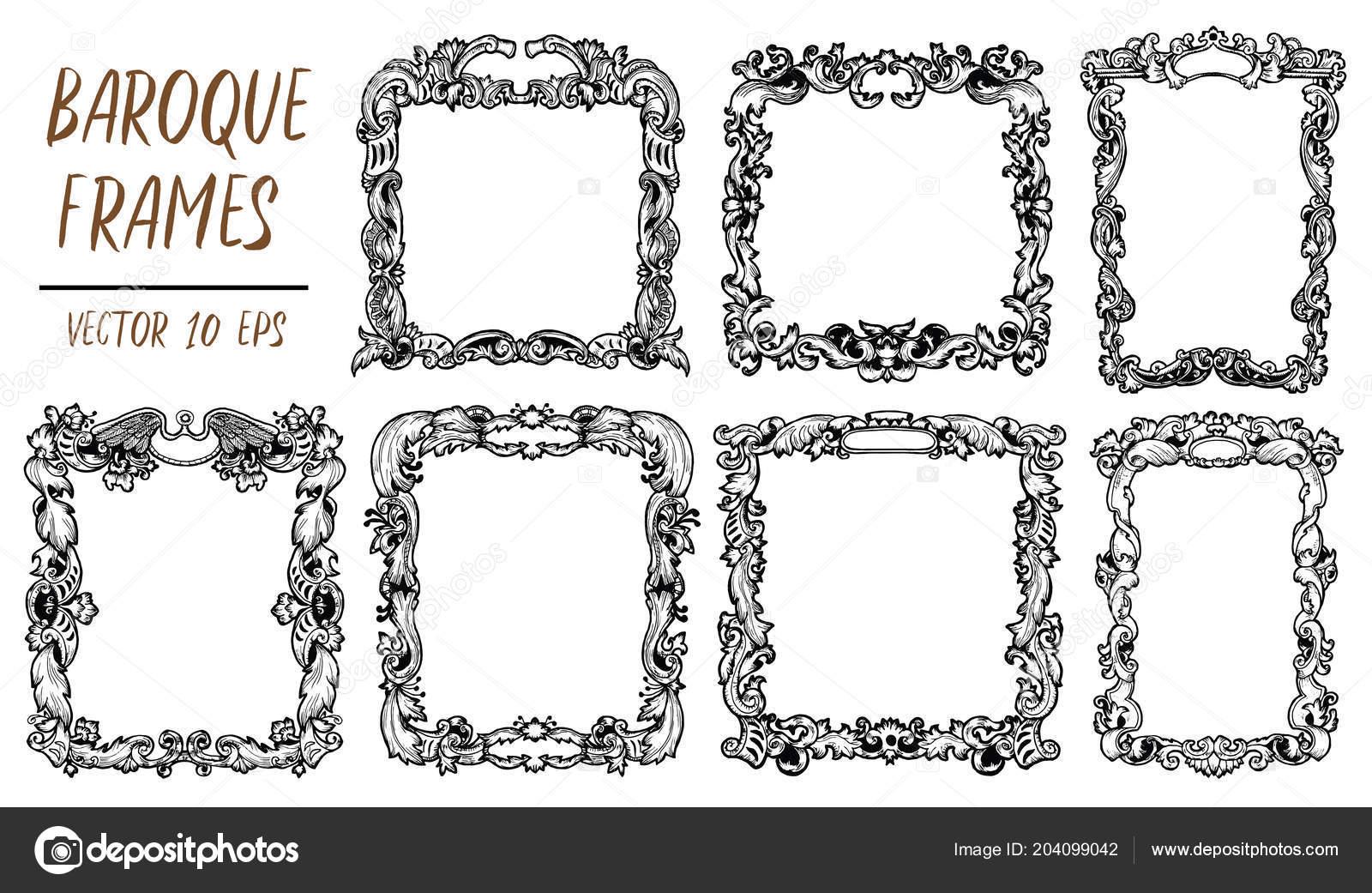 6a2f96e46e6 Set Black White Vector Baroque Frames Decorative Retro Ornament Style —  Stock Vector