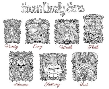 Design set with seven deadly sins in baroque frames. Hand drawn engraved illustration, tattoo and t-shirt design, religious symbol