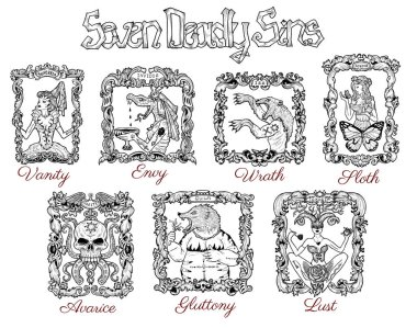 Collection with seven deadly sins concept drawings in baroque frames. Hand drawn engraved illustration, tattoo and t-shirt design, religious symbol