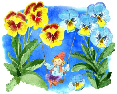 Funny gnome playing in pansy flowers on blue background. Watercolor cartoon doodle illustration, botanical and fantasy drawings for print, greeting cards, poster, invitations