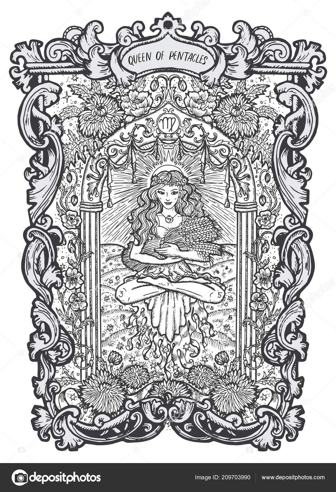 Kralovna Pentagramy Male Tarotova Karta Arcana Magic Gate Balicek
