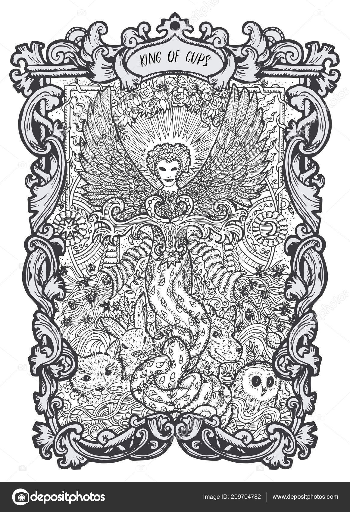 Kral Poharu Male Tarotova Karta Arcana Magic Gate Balicek Fantazie