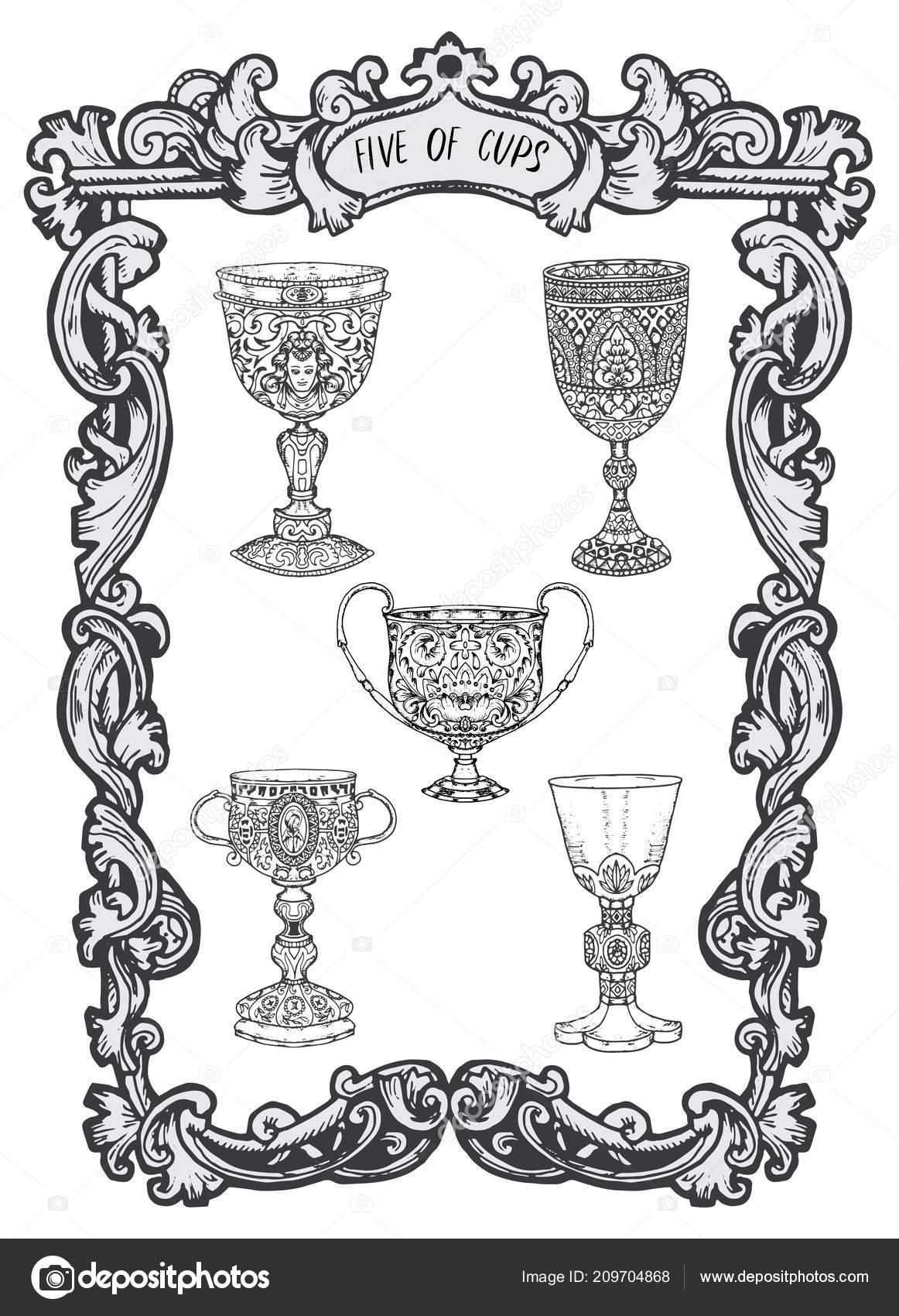 Five Cups Minor Arcana Tarot Card Magic Gate Deck Fantasy Stock