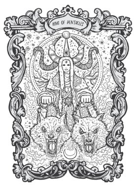 King of pentacles. Minor Arcana tarot card. The Magic Gate deck. Fantasy engraved vector illustration with occult mysterious symbols and esoteric concept