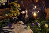 Zátiší s retro lampa, staré knihy, černé svíčky a léčivé byliny s květinami. Mystic pozadí s rituální esoterický objekty, okultní, věštectví a halloween koncepce