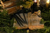 Open book with magic spells, black candles and with herbs in candlelight. Mystic background with ritual esoteric objects, occult, fortune telling and halloween concept