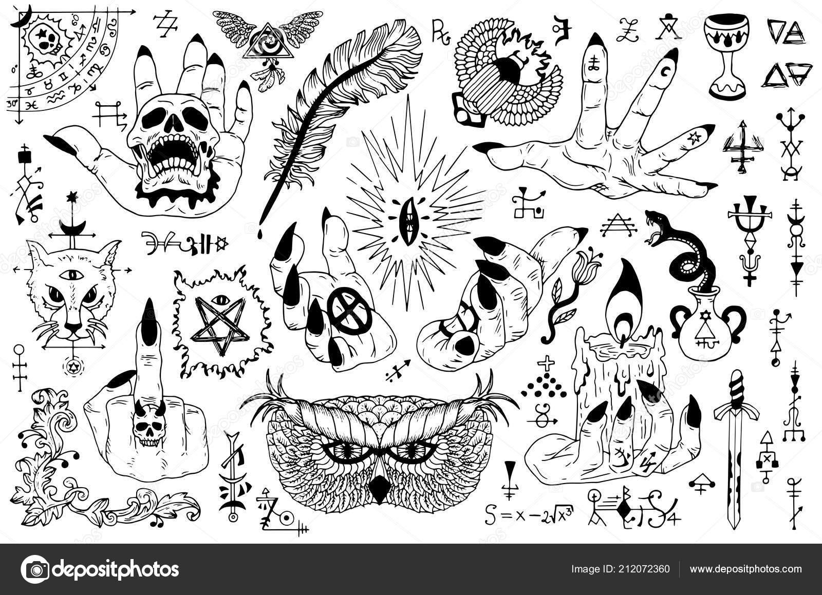 Dövme Tasarım Gotik Simgeler Mistik Semboller Ile üzerine Beyaz