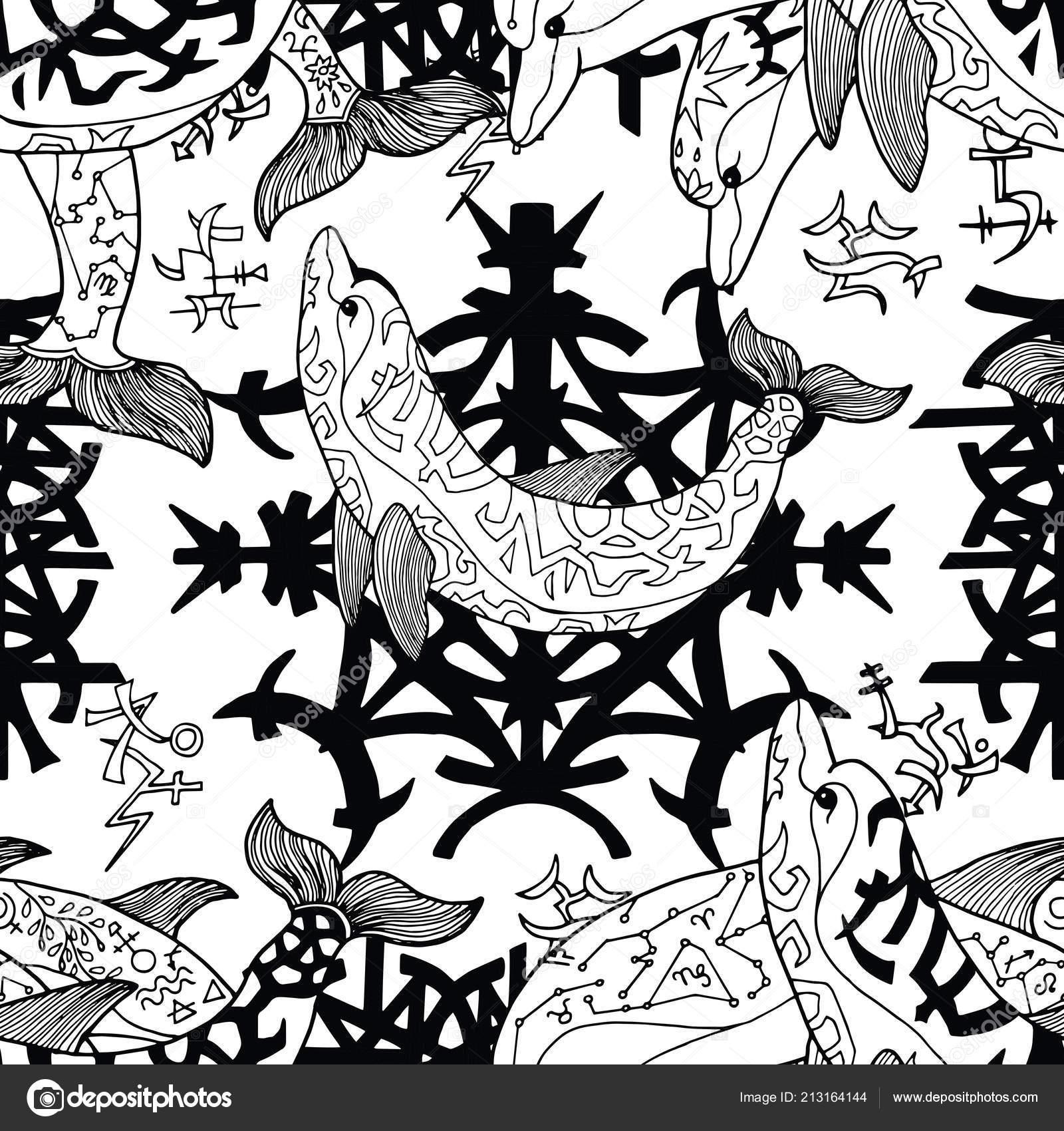 Patrón Sin Fisuras Con Símbolos Góticos Delfines Blanco Concepto ...