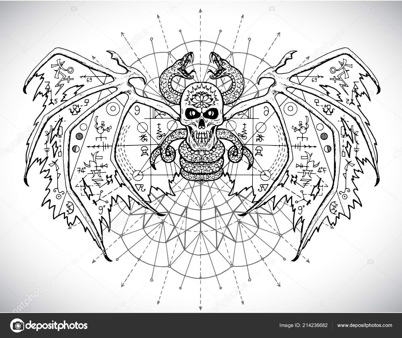 Demon Mystic Sacred Geometry Symbols Pattern Circle Esoteric Occult