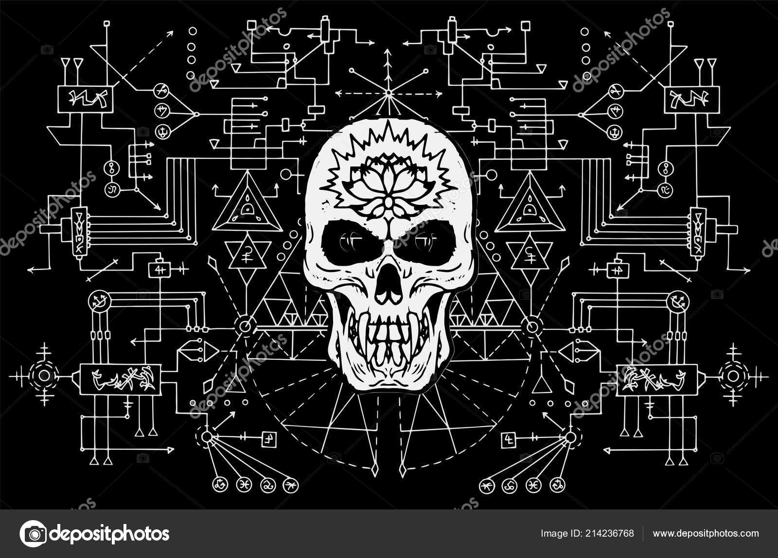 Malvado Cráneo Contra Fondo Geometría Sagrada Blanco Negro