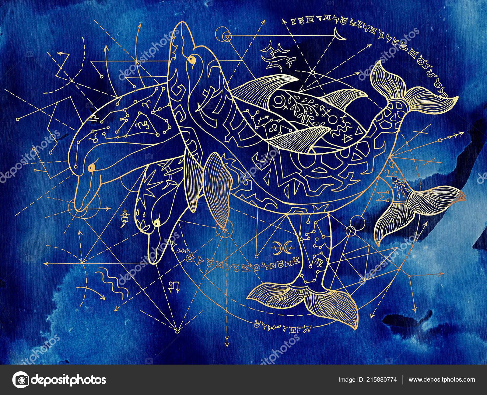 Tres Delfines Oro Sobre Fondo Azul Con Líneas Geométricas