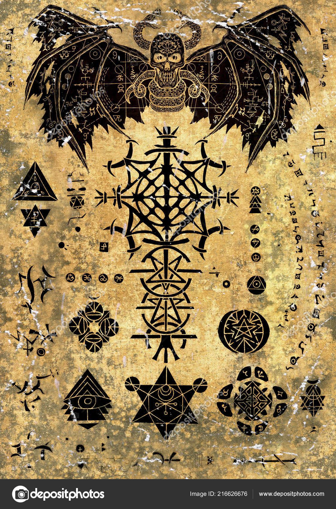 Magic Book Page Devil Demon Evil Symbols Old Paper Textured
