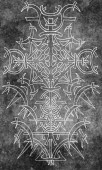 Fotografie Back cover design of tarot card. White gothic pattern on gray texture background. Esoteric, occult and Halloween concept, illustration with mystic gothic symbols