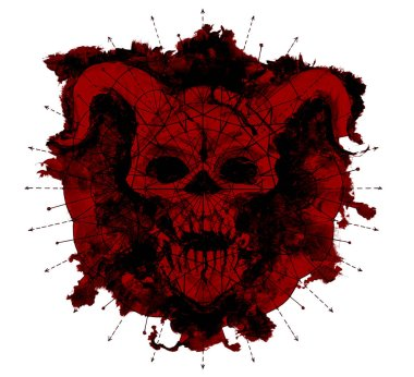 Red devil silhouette with geometric pattern on white. Death symbol, black magic concept. Occult, esoteric and Halloween illustration