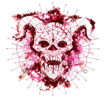 Red devil skull and geometric circle pattern on white. Death symbol, black magic concept. Occult, esoteric and Halloween illustration