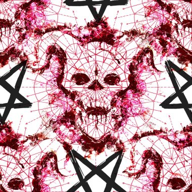 Seamless pattern with red devil silhouette and pentagrams on white. Death symbol, black magic concept. Occult, esoteric and Halloween illustration