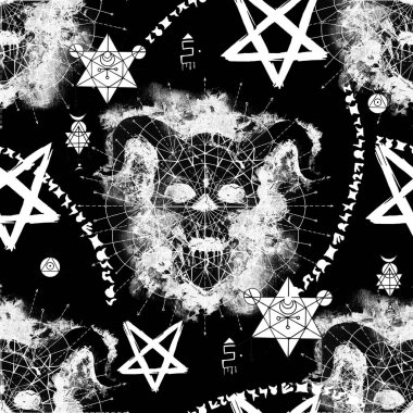Seamless pattern with devil skull, mysterious symbols and pentagram on black. Death symbol, black magic concept. Occult, esoteric and Halloween illustration