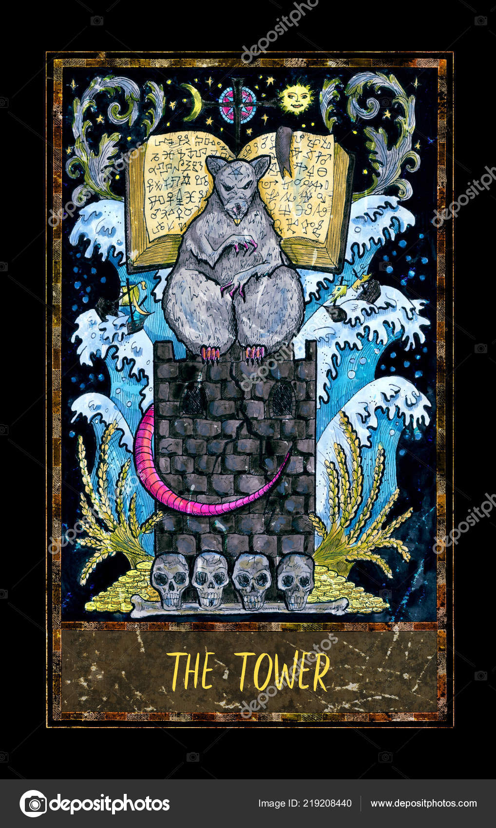 Tower Major Arcana Tarot Card Magic Gate Deck Fantasy