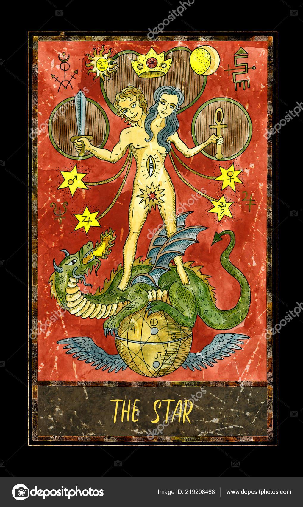 Star Major Arcana Tarot Card Magic Gate Deck Fantasy Graphic