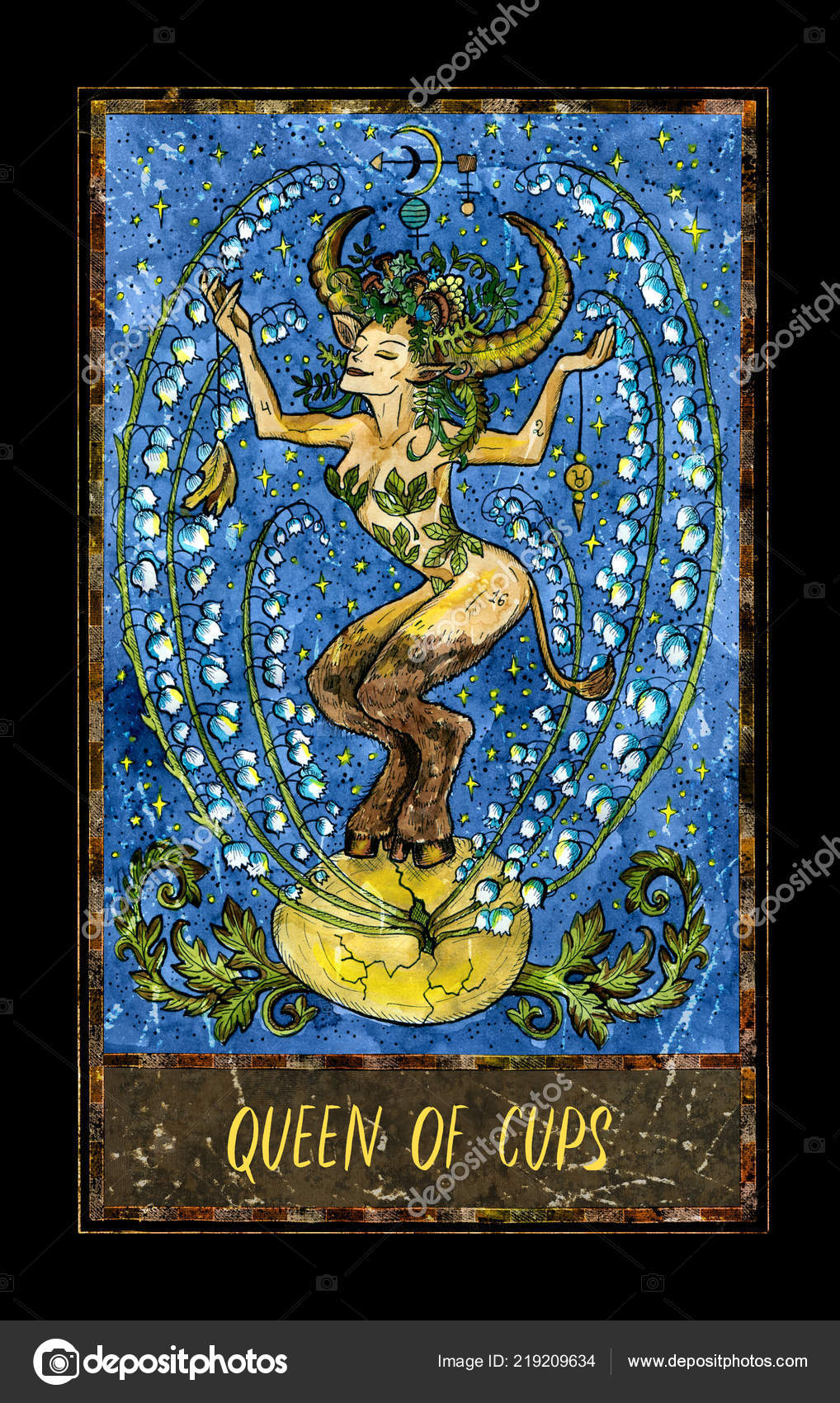 Kralovna Poharu Male Tarotova Karta Arcana Magic Gate Balicek
