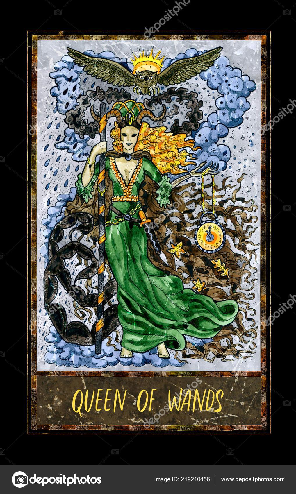 Queen Wands Minor Arcana Tarot Card Magic Gate Deck Fantasy