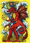 Fotografia Drago e tesori. Fantasy grafico illustrazione disegnata a mano. Occulto disegno mistico con il simbolo dellanimale dello zodiaco di calendario orientale, sfondo mistico astrologia