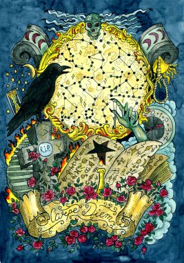 Warlock magic book, crow, grave, cross and evil hand against full moon with constellations. Latin text Carpe Diem means Seize the Day. Occult and esoteric colorful illustration, mysterious gothic background