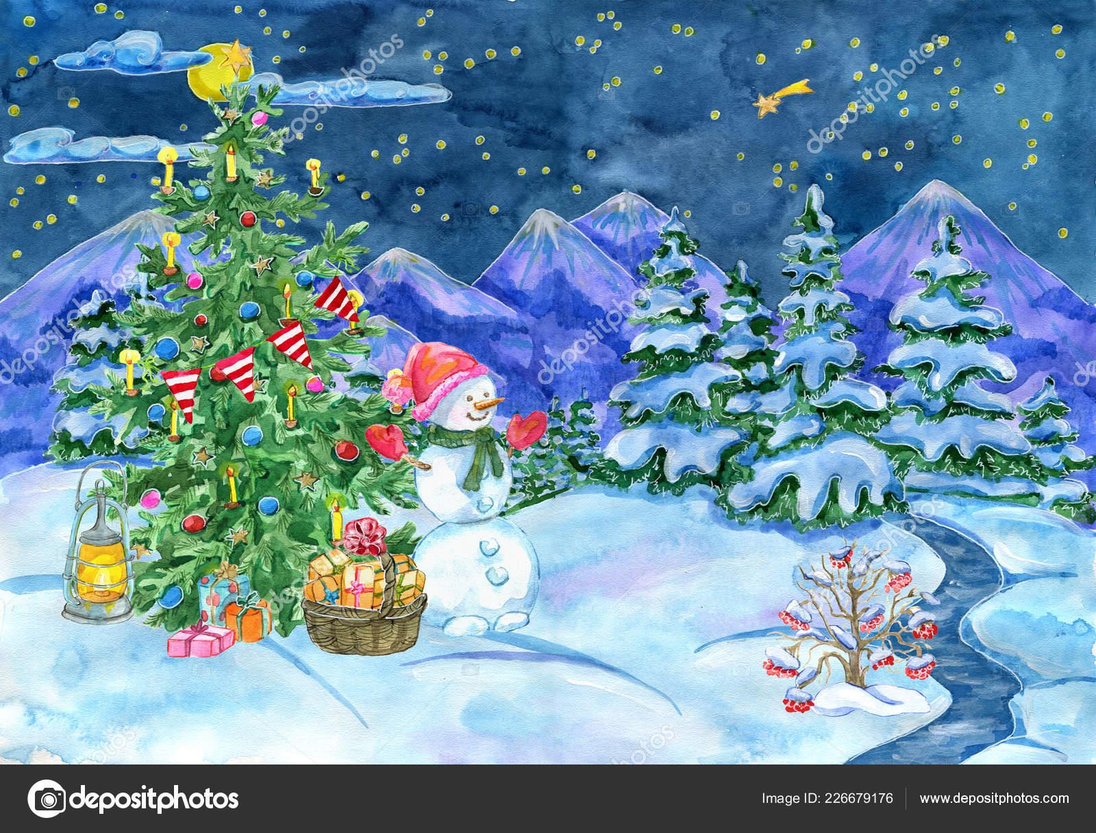 Carte Voeux Noël Nouvel Avec Sapin Décoré Bonhomme Neige