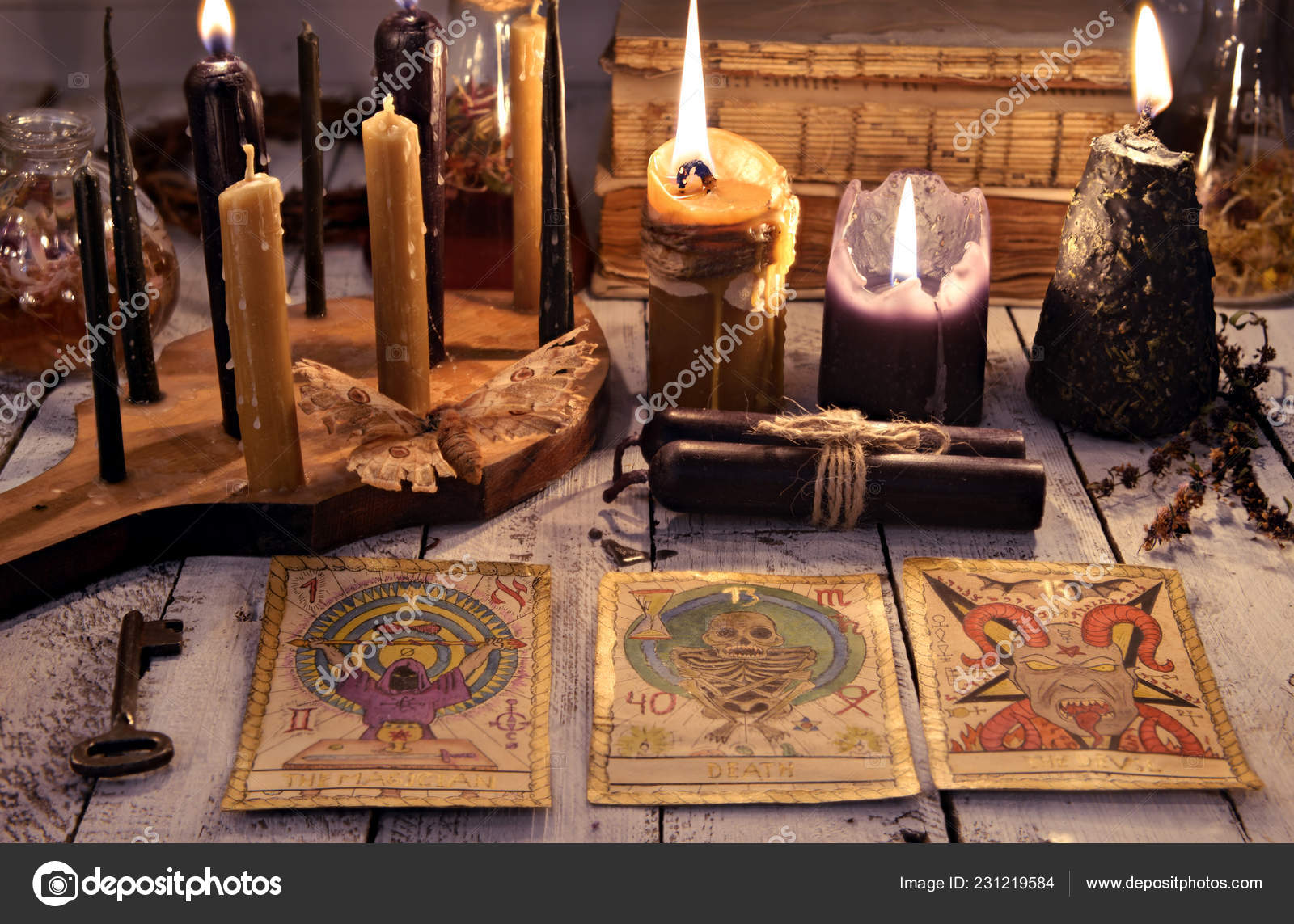 Still Life Tarot Cards Black Candles Key Books Old Table