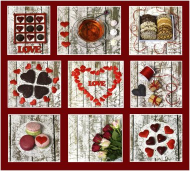Collage of photos with chocolates, flowers, love symbols, hearts on white planks, top view. Romantic vintage valentines day and wedding background