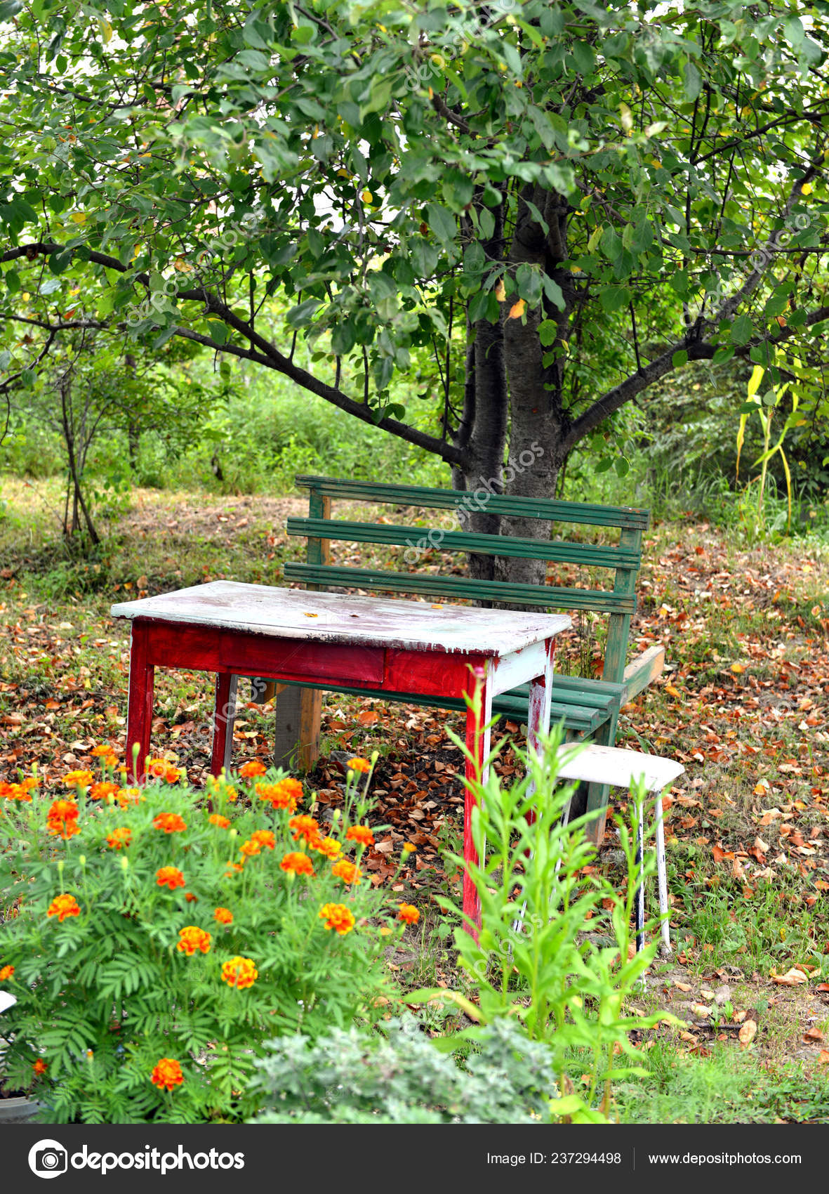 Incredible Wooden Table Bench Autumn Flowers Old Garden Spring Summer Inzonedesignstudio Interior Chair Design Inzonedesignstudiocom