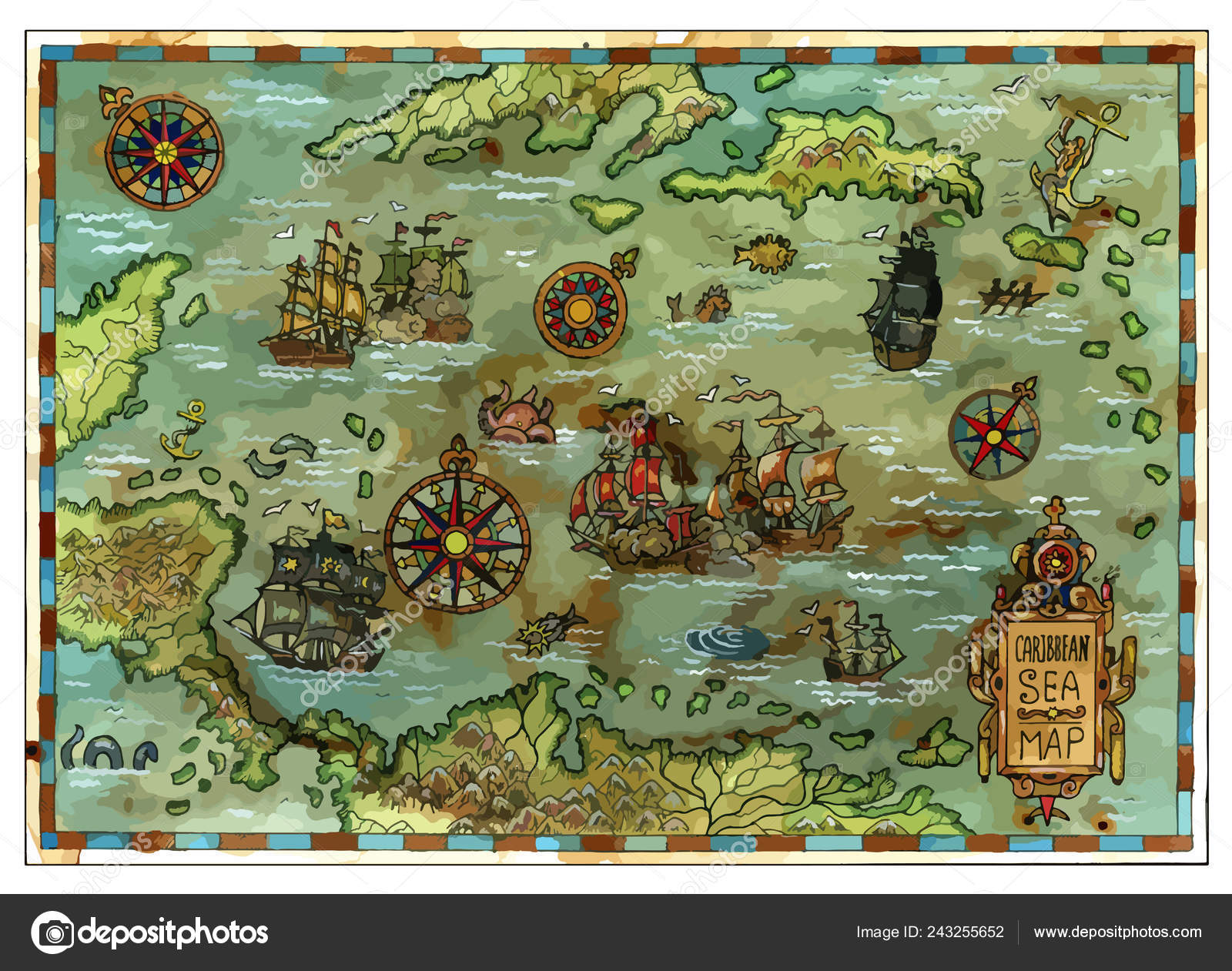 Vector Ancient Caribbean Sea Map Pirate Ships Islands Pirate